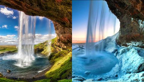 IJslands watervallen in zomer en winter