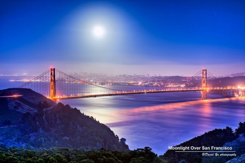 Moonlight over San Francisco