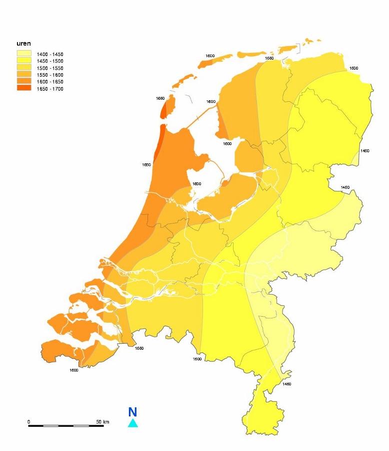 Zonne-urenkaart van Nederland (bron KNMI).
