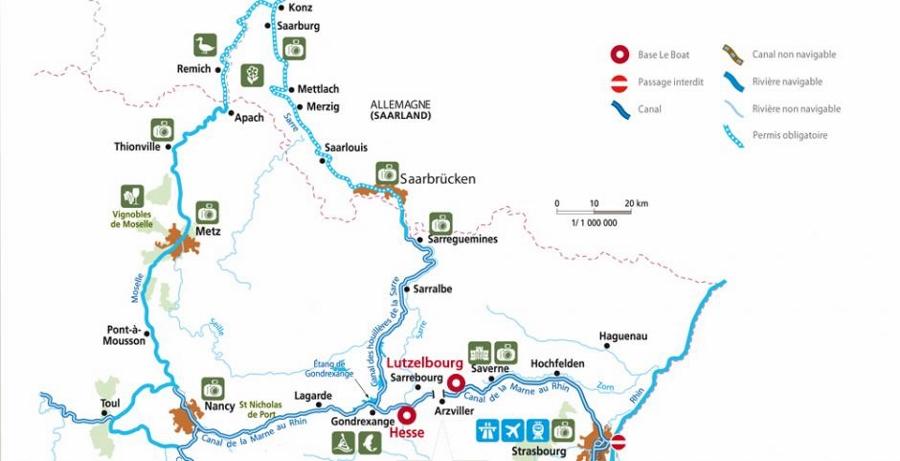 De vaarroutes in Saarland-Elzas met o.a. Saarbrücken, Nancy en Strassbourg (kaart LeBoat.nl)