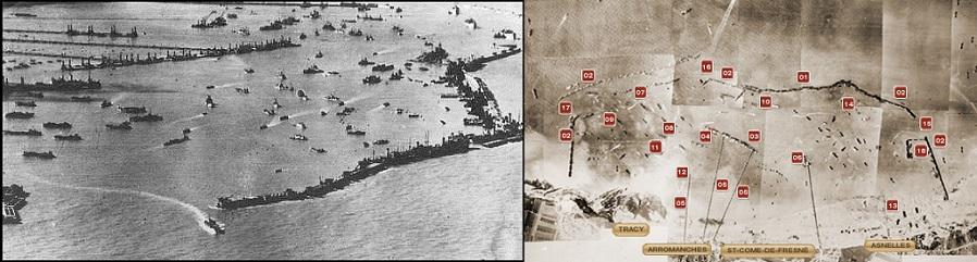 De Kunstmatige haven van Arromanches in de Tweede wereldoorlog (foto's: Jangrlng)