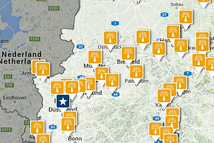 Een Selectie Van Duitse Kerstmarkten Op Een Kaart