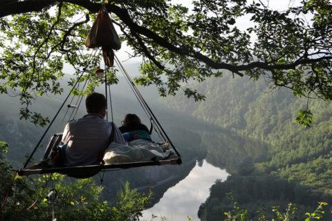Hangende camping met uniek uitzicht over Saarland