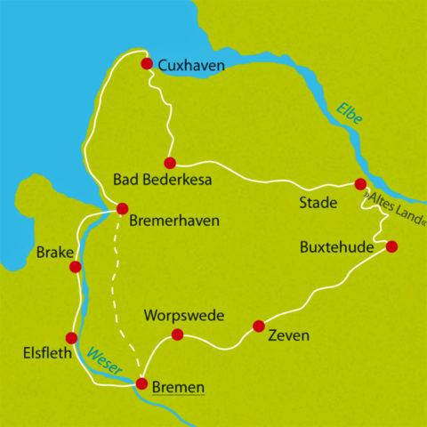 Fietsend van Hanzestad naar Hanzestad tussen de Elbe en de Wezer