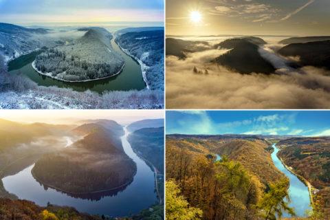 De beroemdste rivierbocht van Duitsland in vier jaargetijden