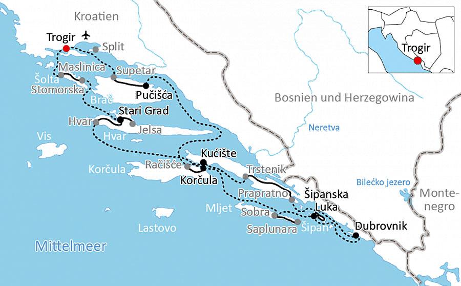 Een Fietscruise Langs De Eilanden Van De Kroatische Kust
