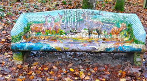 Artistiek wandelbankje: aan wandelroute door Sprielder- en Speulderbos
