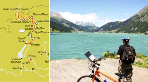 Afdalen van de Reschenpas naar het Gardameer door Zuid-Tirol