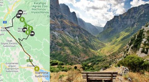Wandelroute rond en door de Griekse Vikoskloof de diepste kloof ter wereld